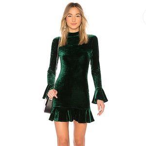 Alice & Olivia Simone Emerald Green Velvet Dress